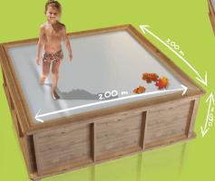 Kinder Holzpool Pistoche, 200 x 200 x 64 cm, Komplettset inkl. Einhänge-Kartuschenfilteranlage