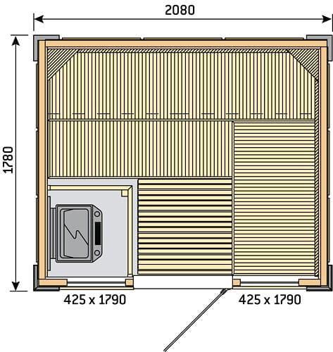 Sauna Rubic S2118RC, 210x180x201 cm, 3 Personen