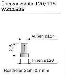 Kupplungsstück 120/115, rostfrei / Reducing pipe 120/115, stainless steel