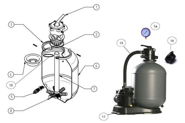 Filterkessel komplett für HP 39