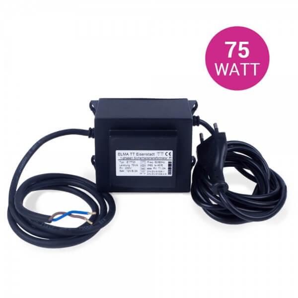 Sicherheitsschutztrafo 12V, 75 W, für LED