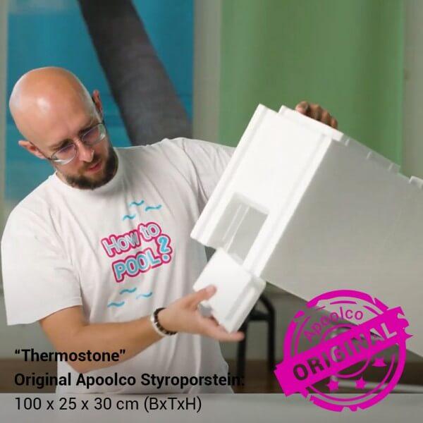 Styroporpool, 700 x 350 x 150 cm, Komplettset mit Treppe rechts und Sitzbank