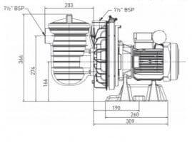 Poolpumpe Duraglas I P-STR-071 (5P2RD-1), 230 V