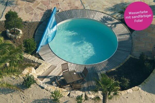 Poolfolie rund, 350 x 135 cm, 0,60mm, Sand, überlappend