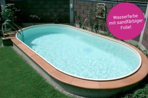 Poolfolie oval, 600 x 320 x 150 cm, 0,60 mm, mit Biese, sand
