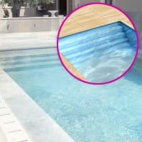 Styropor Pool 700 x 350 x 150 cm Komplettset mit Folientreppe über die ganze Breite