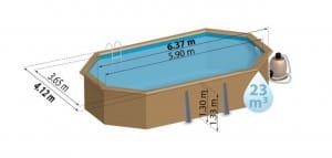GRE Holzpool Safran, 590 x 365 x 130 cm, Komplettset