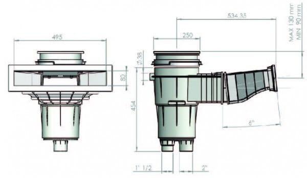 Astral Skimmer SLIM 500 mit 6° Schräge (57114)