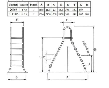 Hochbeckenleiter Edelstahl mit Plattform 135 cm (26769)