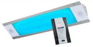 Farblampe mit integrierten Lautsprechern + Bedienteil wave.com4