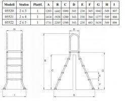 Hochbeckenleiter Edelstahl mit Plattform 150 cm (05522)
