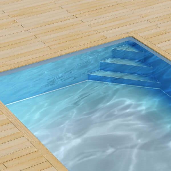 Poolfolie für Styroporpool 600 x 300 x 150 cm mit Ecktreppenausprägung rechts