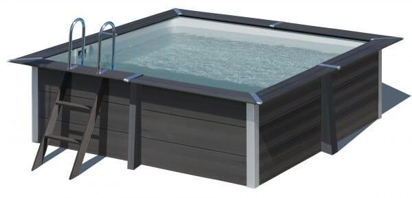 Rechteckpool Composite, 280 x 280 x 96 cm, anthrazit, Komplettset