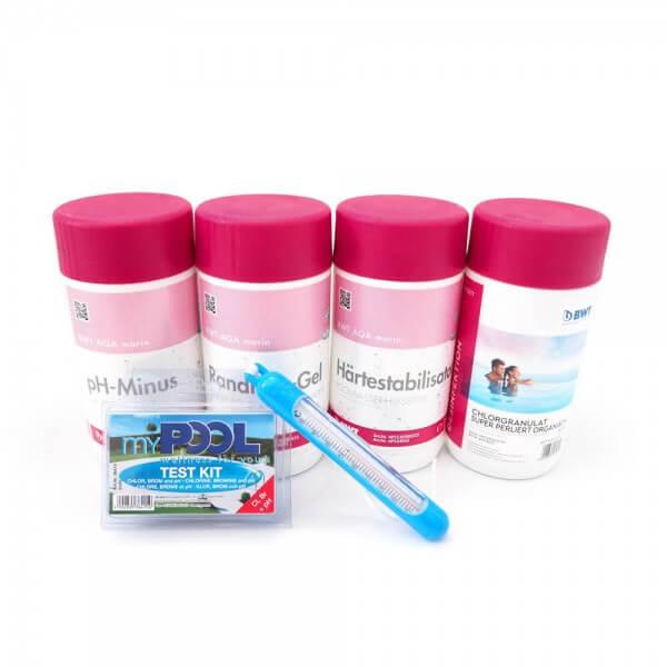 Poolchemie Set klein mit Chor, Randreingel, Härtestabilisator, Teststreifen, Thermometer